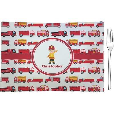 Firetrucks Rectangular Glass Appetizer / Dessert Plate - Single or Set (Personalized)