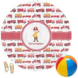 Firetrucks Round Beach Towel (Personalized)