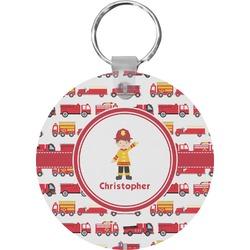 Firetrucks Round Keychain (Personalized)