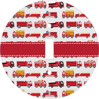 Firetrucks Round Light Switch Cover (Personalized)
