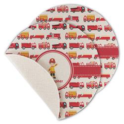 Firetrucks Round Linen Placemat (Personalized)