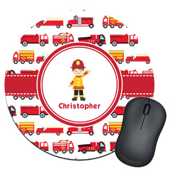Firetrucks Round Mouse Pad (Personalized)
