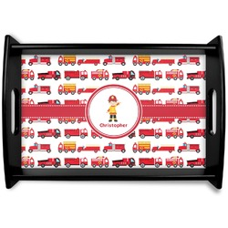 Firetrucks Black Wooden Tray (Personalized)
