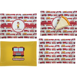 Firetrucks Set of 4 Rectangular Appetizer / Dessert Plates (Personalized)