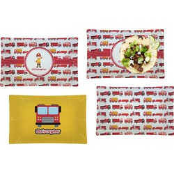 Firetrucks Set of 4 Rectangular Dinner Plates (Personalized)