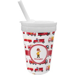Firetrucks Sippy Cup with Straw (Personalized)