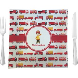 """Firetrucks 9.5"""" Glass Square Lunch / Dinner Plate- Single or Set of 4 (Personalized)"""