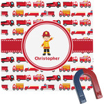 Firetrucks Square Fridge Magnet (Personalized)