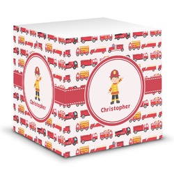 Firetrucks Sticky Note Cube (Personalized)