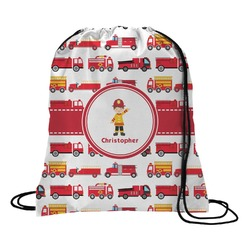 Firetrucks Drawstring Backpack (Personalized)