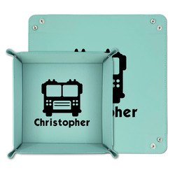 Firetrucks Teal Faux Leather Valet Tray (Personalized)