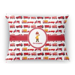 Firetrucks Rectangular Throw Pillow Case (Personalized)