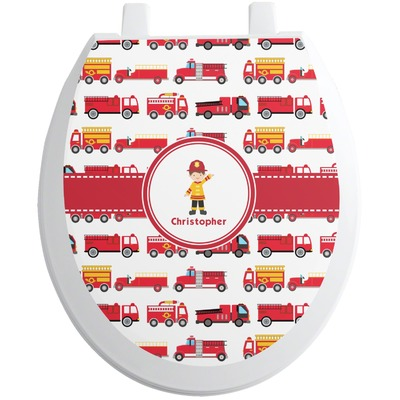 Firetrucks Toilet Seat Decal (Personalized)