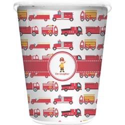 Firetrucks Waste Basket - Single Sided (White) (Personalized)