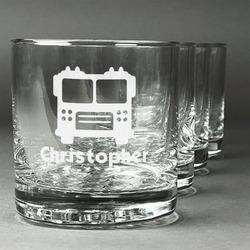 Firetrucks Whiskey Glasses (Set of 4) (Personalized)