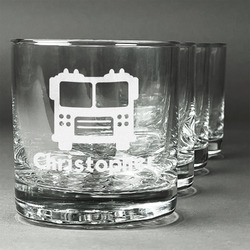 Firetrucks Whiskey Glasses (Set of 4) (Personalized)