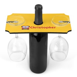 Firetrucks Wine Bottle & Glass Holder (Personalized)