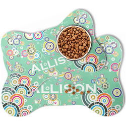 Colored Circles Bone Shaped Dog Food Mat (Personalized)