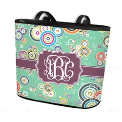 Colored Circles Bucket Tote w/ Genuine Leather Trim (Personalized)
