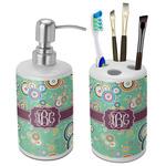 Colored Circles Ceramic Bathroom Accessories Set (Personalized)