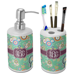 Colored Circles Bathroom Accessories Set (Ceramic) (Personalized)