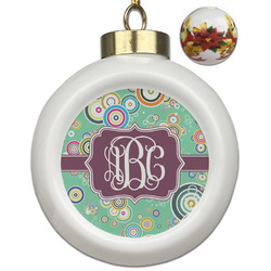 Colored Circles Ceramic Ball Ornaments - Poinsettia Garland (Personalized)