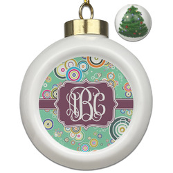 Colored Circles Ceramic Ball Ornament - Christmas Tree (Personalized)