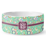 Colored Circles Ceramic Dog Bowl (Personalized)