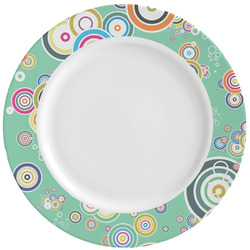 Colored Circles Ceramic Dinner Plates (Set of 4) (Personalized)