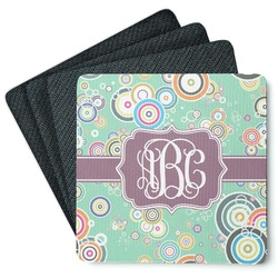 Colored Circles 4 Square Coasters - Rubber Backed (Personalized)