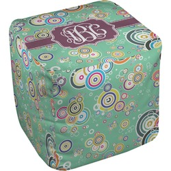 Colored Circles Cube Pouf Ottoman (Personalized)