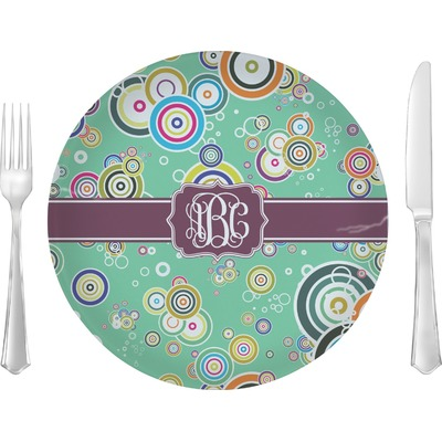 """Colored Circles 10"""" Glass Lunch / Dinner Plates - Single or Set (Personalized)"""
