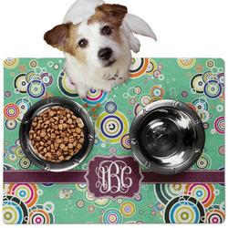 Colored Circles Dog Food Mat - Medium w/ Monogram