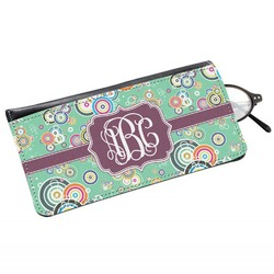 Colored Circles Genuine Leather Eyeglass Case (Personalized)