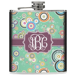 Colored Circles Genuine Leather Flask (Personalized)