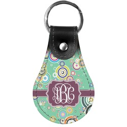 Colored Circles Genuine Leather  Keychain (Personalized)