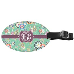 Colored Circles Genuine Leather Oval Luggage Tag (Personalized)
