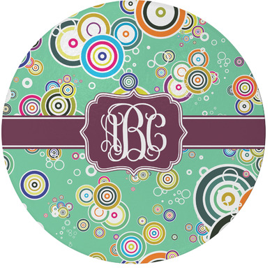 Colored Circles Round Glass Cutting Board (Personalized)