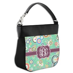 Colored Circles Hobo Purse w/ Genuine Leather Trim (Personalized)
