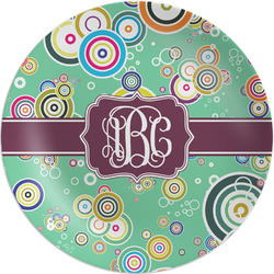"""Colored Circles 8"""" Melamine Appetizer / Dessert Plate (Personalized)"""