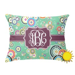 Colored Circles Outdoor Throw Pillow (Rectangular) (Personalized)