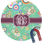Colored Circles Round Fridge Magnet (Personalized)