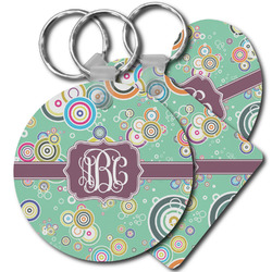 Colored Circles Plastic Keychains (Personalized)