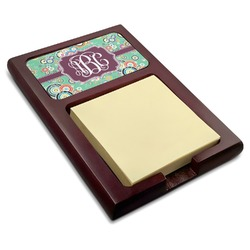 Colored Circles Red Mahogany Sticky Note Holder (Personalized)