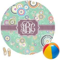 Colored Circles Round Beach Towel (Personalized)
