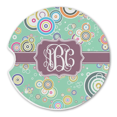 Colored Circles Sandstone Car Coasters (Personalized)