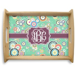 Colored Circles Natural Wooden Tray - Large (Personalized)