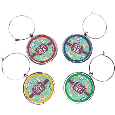 Colored Circles Wine Charms (Set of 4) (Personalized)