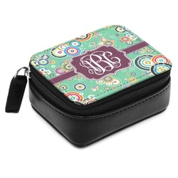 Colored Circles Small Leatherette Travel Pill Case (Personalized)