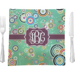 "Colored Circles Glass Square Lunch / Dinner Plate 9.5"" - Single or Set of 4 (Personalized)"